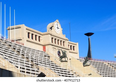 Barcelona Olympic Stadium and cauldron for olympic flame, Spain