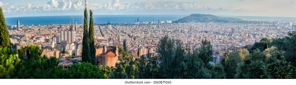 Barcelona panorama from Gaudi park