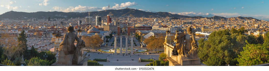 Barcelona - The panorama from the Palace Real with the Plaza Espana at the sunset light.