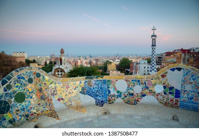 Barcelona, Park Guell at sunset, Spain