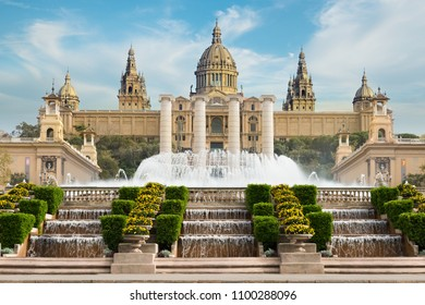 Barcelona Placa De Espanya, the National Museum with magic fountain in afternoon at Barcelona. Spain. Famous landmark in Spain.