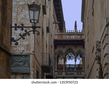 Barcelona Pont del Bisbe - Famous Covered Bridge in the Gothic Quarter of Barcelona, Spain