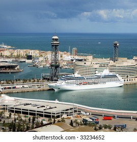 Barcelona and port Port Vell from natural park Montjuic, Spain