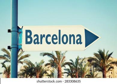 Barcelona Road Sign. Travel Destinations Set