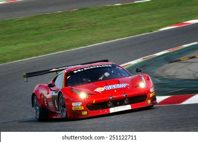 BARCELONA, SAPIN - SEP 7: Team formed by Jiri Pisarik, Matteo Malucelli and Peter Kox races in a Ferrari 458 GT3 in the 24 Hours of Barcelona, at Catalunya Circuit, on Sep 7, 2014 in Barcelona, Spain.