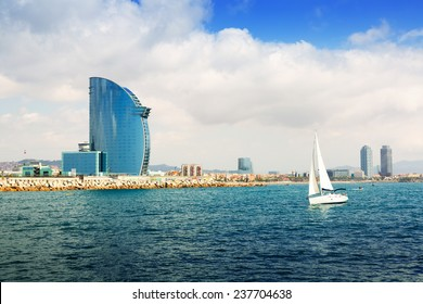 Barcelona from  sea. Barceloneta beach and Port Olimpic