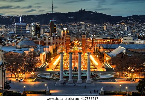 Foto De Stock Sobre Barcelona Vista Desde La Terraza Del