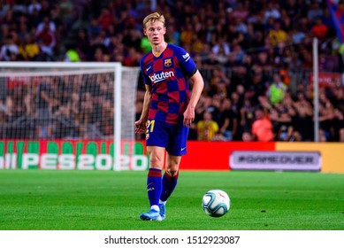 BARCELONA - SEP 14: Frenkie De Jong plays at the La Liga match between FC Barcelona and Valencia CF at the Camp Nou Stadium on September 14, 2019 in Barcelona, Spain.