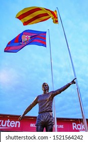 BARCELONA - SEP 14: The Johan Cruyff statue in front of the stadium at the La Liga match between FC Barcelona and Valencia CF at the Camp Nou Stadium on September 14, 2019 in Barcelona, Spain.