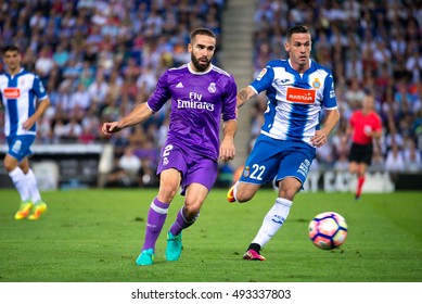 BARCELONA - SEP 18: Carvajal plays at the La Liga match between RCD Espanyol and Real Madrid CF at RCDE Stadium on September 18, 2016 in Barcelona, Spain.
