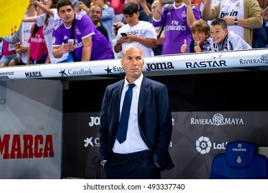BARCELONA - SEP 18: The coach Zinedine Zidane at the La Liga match between RCD Espanyol and Real Madrid CF at RCDE Stadium on September 18, 2016 in Barcelona, Spain.