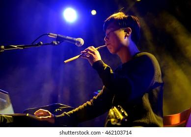BARCELONA - SEP 18: Jambinai (band) in concert at BAM Festival on September 18, 2015 in Barcelona, Spain.