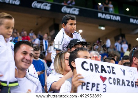 e5e3fc1ab BARCELONA - SEP 18: Real Madrid fans at the La Liga match between RCD  Espanyol