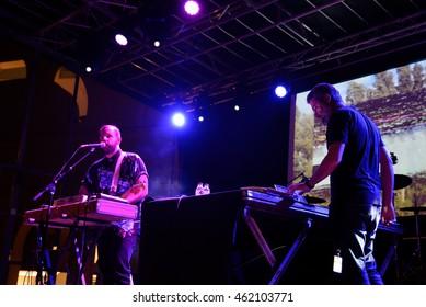 BARCELONA - SEP 19: I Am Dive (experimental electronic band) in concert at BAM Festival on September 19, 2015 in Barcelona, Spain.