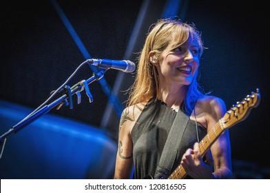 "BARCELONA - SEP 22: Amparo Llanos member of Dover performs at the ""Hard Rock Rocks La Merce"" concert within La Merce celebrations on September 22, 2012 in Barcelona, Spain"