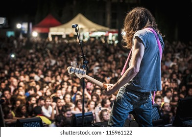 "BARCELONA - SEP 22: Samuel Titos member of Dover performs at the ""Hard Rock Rocks La Merce"" concert within La Merce celebrations on September 22, 2012 in Barcelona, Spain"