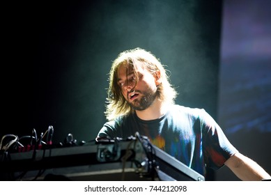 BARCELONA - SEP 23: Janus Rasmussen from Kiasmos (electronic band) performs in concert at BAM Festival on September 23, 2017 in Barcelona, Spain.