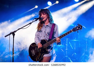 BARCELONA - SEP 23: Side Chick (Spanish female rock band) perform in concert at BAM Festival on September 23, 2018 in Barcelona, Spain.
