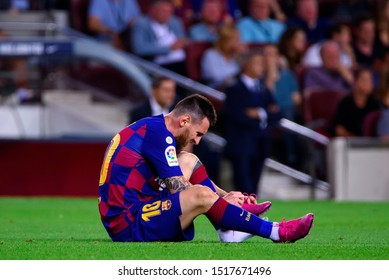 BARCELONA - SEP 24: Leo Messi injured at the La Liga match between FC Barcelona and Villarreal CF at the Camp Nou Stadium on September 24, 2019 in Barcelona, Spain.