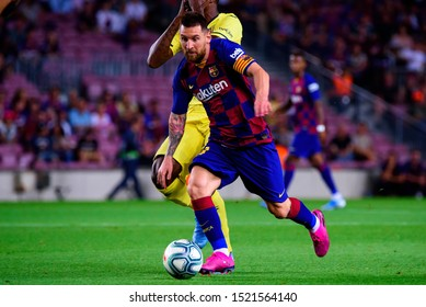 BARCELONA - SEP 24: Leo Messi plays at the La Liga match between FC Barcelona and Villarreal CF at the Camp Nou Stadium on September 24, 2019 in Barcelona, Spain.