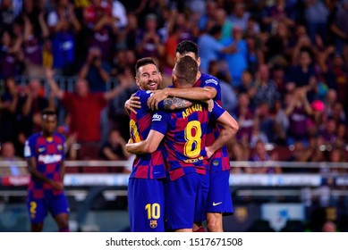 BARCELONA - SEP 24: Barcelona players celebrate a goal at the La Liga match between FC Barcelona and Villarreal CF at the Camp Nou Stadium on September 24, 2019 in Barcelona, Spain.