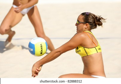 BARCELONA - SEPT 10: Spanish beach Volley player Cristina Hopf in action during a match of the Swatch FIVB Beach Volley World Tour'09 at monjuich September 10, 2009 in Barcelona, Spain
