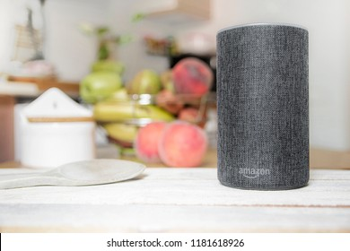 BARCELONA - SEPTEMBER 2018: Amazon Echo Smart Home Alexa Voice Service in a kitchen on September 17, 2018 in Barcelona.