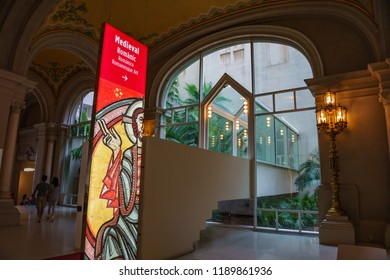 BARCELONA - SEPTEMBER 2018: Interior of the Museu Nacional d'Art de Catalunya or National Art Museum of Catalonia. It is housed in the Palau Nacional, a huge, Italian style building dating to 1929