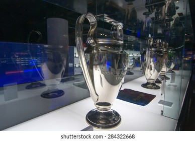 BARCELONA - SEPTEMBER 22, 2014: UEFA Champions League Cup in museum. UEFA Cup - trophy awarded annually by UEFA to the football club that wins the UEFA Champions League. Camp Nou, Barcelona, Spain.
