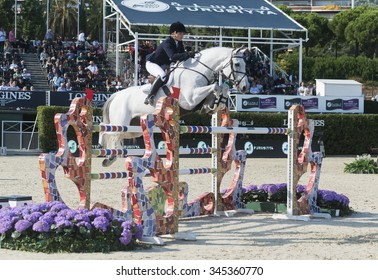 BARCELONA - SEPTEMBER 24: Jessica Brown rider in action during the Furusiyya Nations Final Cup in Real Club Polo Barcelona, own September 24, 2015, Barcelona, Spain.