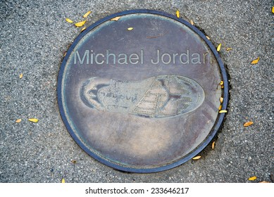 BARCELONA - SEPTEMBER 27, 2014: Footprint of Michael Jordan in front of the Olympic stadium in Barcelona. Michael Jordan is a former American basketball player.