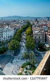 Barcelona sky views of les rambles