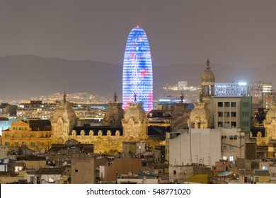 Barcelona Skyline at night in Catalonia, Spain.