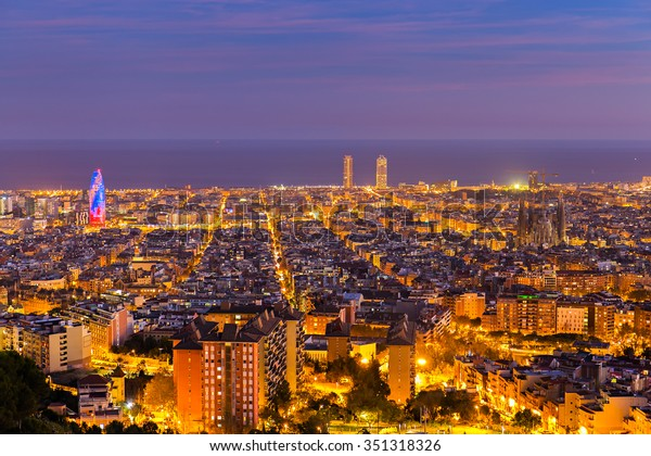 Barcelona skyline in te afternoon at Blue Hour