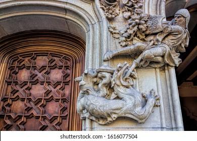 Barcelona, Spain - 03/02/2016 - Dragon slayer at the old Casa Amatller