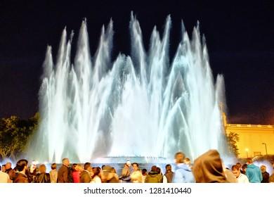 Barcelona, Spain - 04.21.2017: The Magic Fountain of Montjuïc is a fountain located at the head of Avinguda Maria Cristina in the Montjuïc neighborhood of Barcelona, Catalonia, Spain