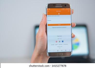Barcelona / Spain 05 25 2019: Odnoklassniki (ok.ru) web site on mobile phone screen. Mobile version of Odnoklassniki company web page on smartphone. Official web page of Odnoklassniki.