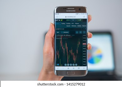 Barcelona / Spain 05 25 2019: Bitfinex web site on mobile phone screen. Mobile version of Bitfinex trade company web page on smartphone. Official web page of Bitfinex.