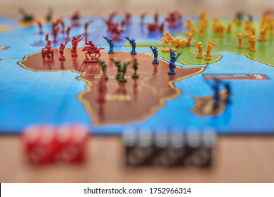 Barcelona, Spain - 05 de Junio de 2020: a lot of figures on the world map, from the risk game