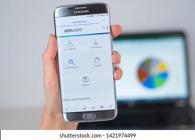 Barcelona / Spain 06 10 2019: VmWare web site on mobile phone screen. Mobile version of VmWare company web page on smartphone. Official web page of VmWare.