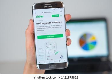 Barcelona / Spain 06 10 2019: Chime Bank web site on mobile phone screen. Mobile version of Chime Bank web page on smartphone. Official web page of ChimeBank.