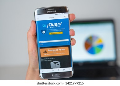 Barcelona / Spain 06 10 2019: jQuery web site on mobile phone screen. Mobile version of jQuery company web page on smartphone. Official web page of jQuery.