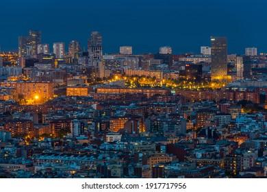 Barcelona, Spain, 06.02.2014. Scenic bird's eye view of Barcelona city at evening twilight