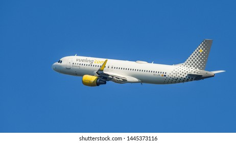 BARCELONA, SPAIN, 06,16, 2019: VUELING PLANE IN THE AIR.