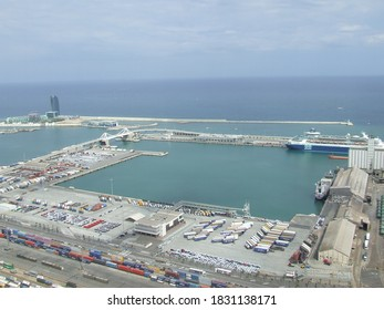 Barcelona, Spain - 07 26 2015 : Overview of industrial and commercial port of Barcelona, city of Barcelona, region of Catalonia, Spain