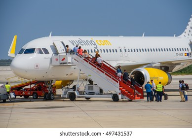 BARCELONA, SPAIN -08/20/2016: View of Vueling plane Vueling airline, departure