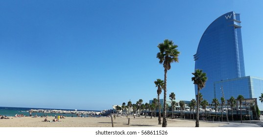 BARCELONA, SPAIN - 09.28.2016: Barceloneta Beach Port Olimpic and Hotel Vela