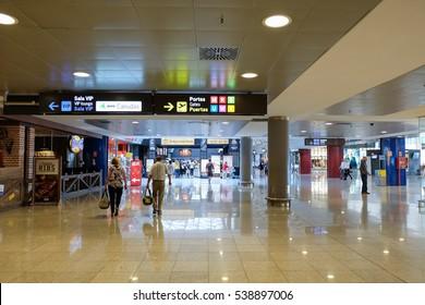 BARCELONA, SPAIN - 1 OCTOBER, 2016: Barcelona International Airport El Prat interior . Airport is one of the biggest in Europe