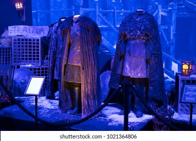 "BARCELONA, SPAIN - 11 JANUARY 2018: Original costumes of actors and props from the movie ""The Game of Thrones"" in the premises of the Maritime Museum of Barcelona."