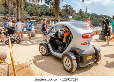 BARCELONA, SPAIN - 11 JULY 2018: a Renault Twizy electric car in park